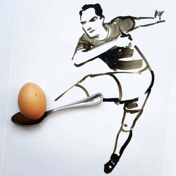 Illustrator Cleverly Uses Everyday Items To Complete His Drawings