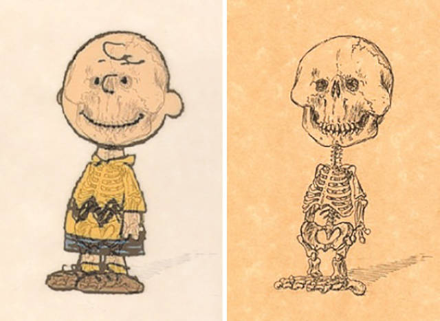Artist Makes Cool Illustrations That Show Skeletons Of Famous Cartoon Characters