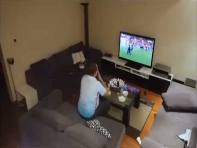 Guy Completely Loses It While Watching A Football Match