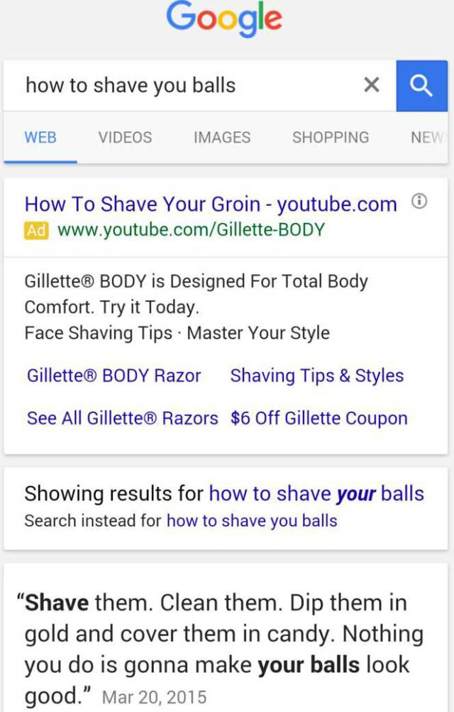 It's Hilarious When Google Search Gives The Results You Need And Not The Ones You Want