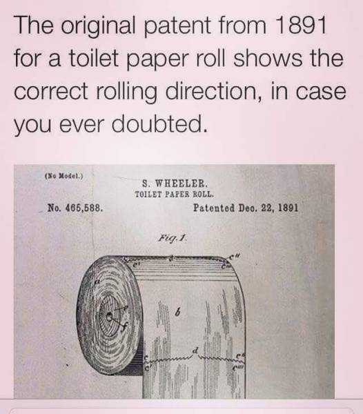 The Original Toilet Paper Roll Patent From 1891 Realfunny