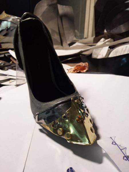 Girl's Shoes Got Ruined By Dog, Her Boyfriend Repaired Them In The Most Metal Way Possible