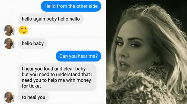 Guy Exercises His Art Of Trolling On A Facebook Scammer With Adele's Song Lyrics