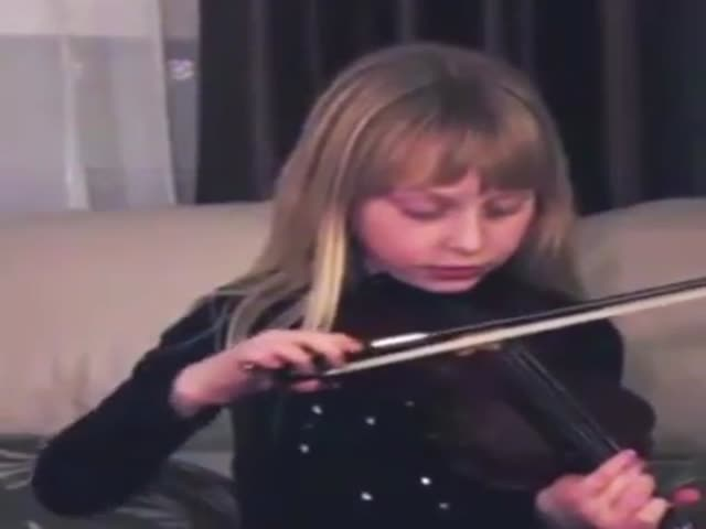 Girl Didn't Expect This While Playing Violin