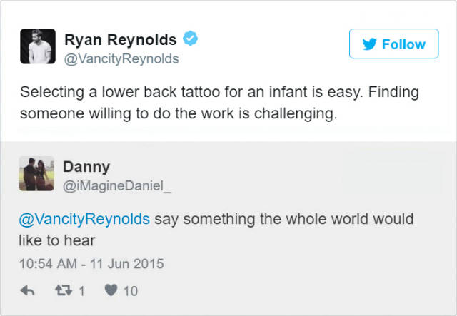 Enjoy These Bits Of Ryan Reynold's Brilliant Sense Of Humor