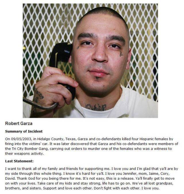 Last Words Of Death Row Inmates Before They Were Executed