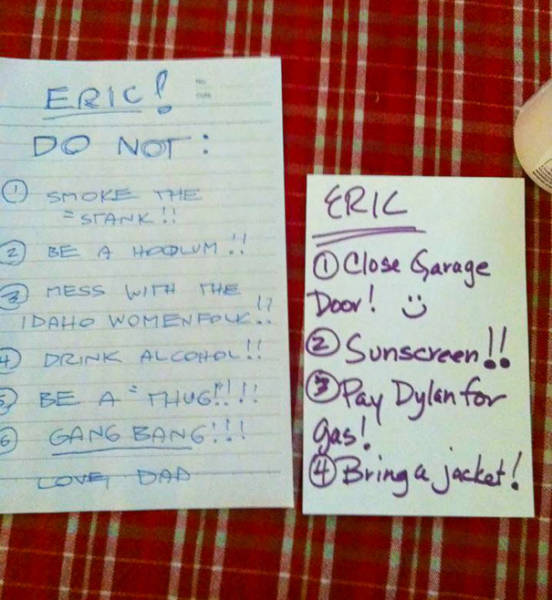 Funny Notes That Parents Left To Their Kids