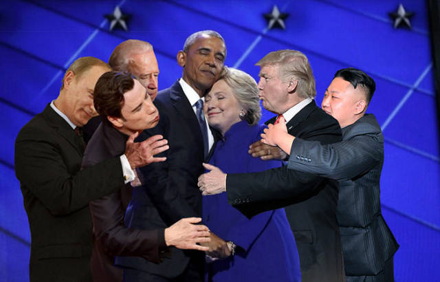 Obama-Clinton Hug Was A Perfect Reason For Intense Photoshop Battle