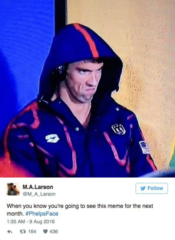 Michael Phelps' Game Face Is A Perfect Meme Material