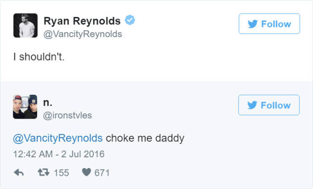 Hilarious Ryan Reynolds' Replies To Dirty Tweets From Fans