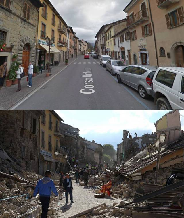Before And After Photos Of Italian Villages Devastated By Strong Earthquake