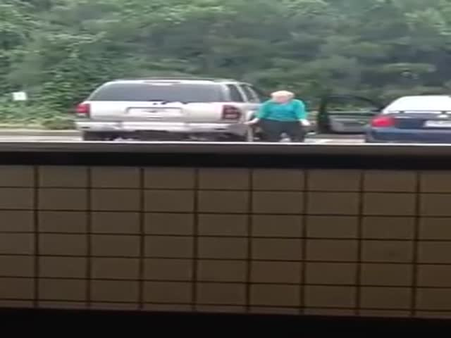 Grandma Shows Off Some Neat Dancing Moves In A Parking Lot
