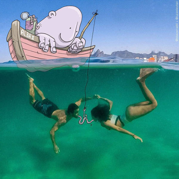 Illustrator Modifies Random Instagrm Photos With His Creative And Funny Illustrations