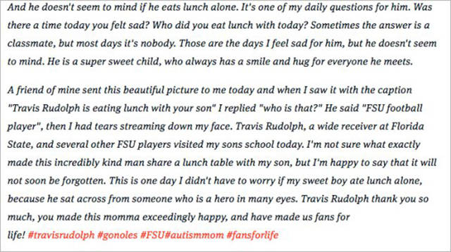 FSU Football Player Makes A Beautiful Gesture By Joining An Autistic Kid For Lunch