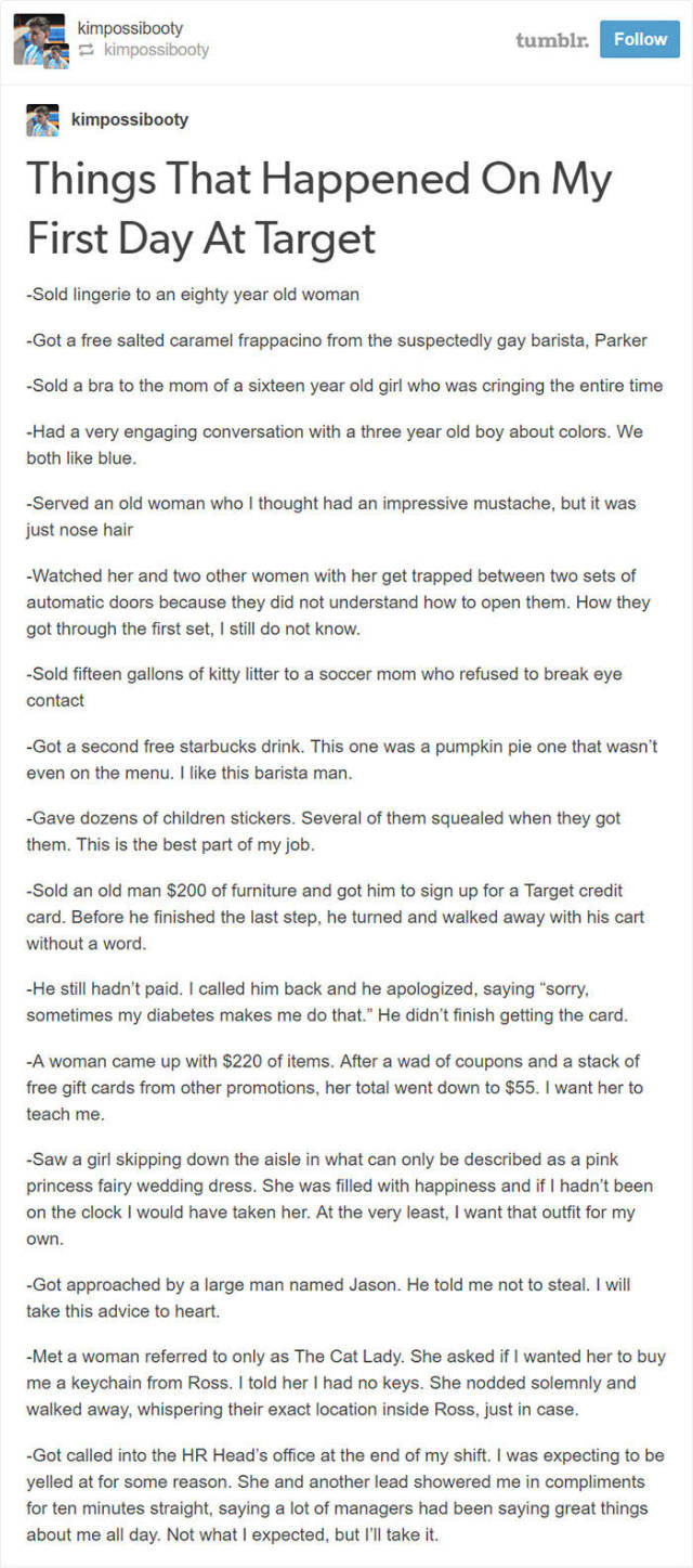 New Employee Uploads A Detailed Story Of His First Week Of Work At Target And It's Priceless