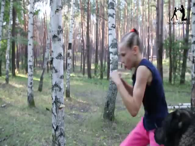 Poor Tree Gets Some Serious Ass Whooping From A Little Girl