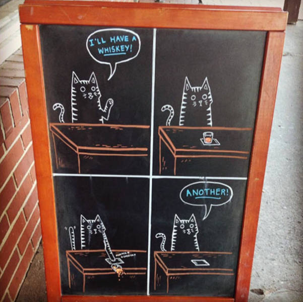 Funny And Clever Sidewalk Chalk Sings Helped A Bar To Increase The Sales