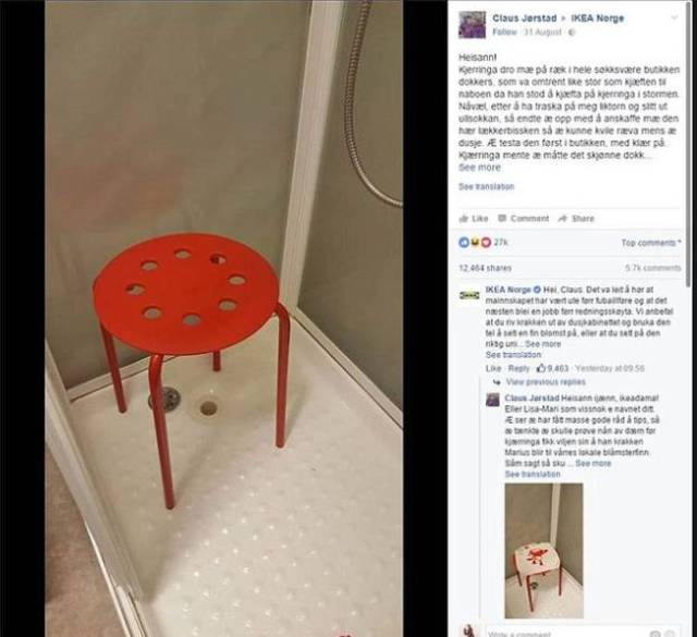 A Norwegian Guy Had An Unfortunate Experience With An IKEA Stool In The Shower