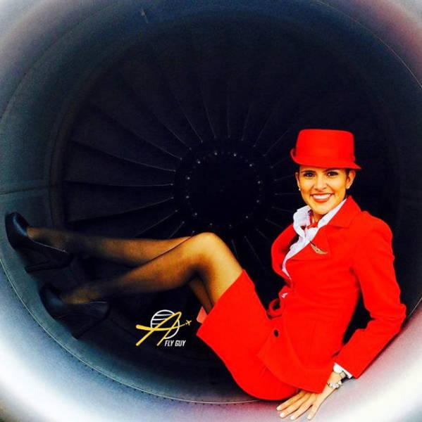 Female Flight Attendant Selfies From Around The World