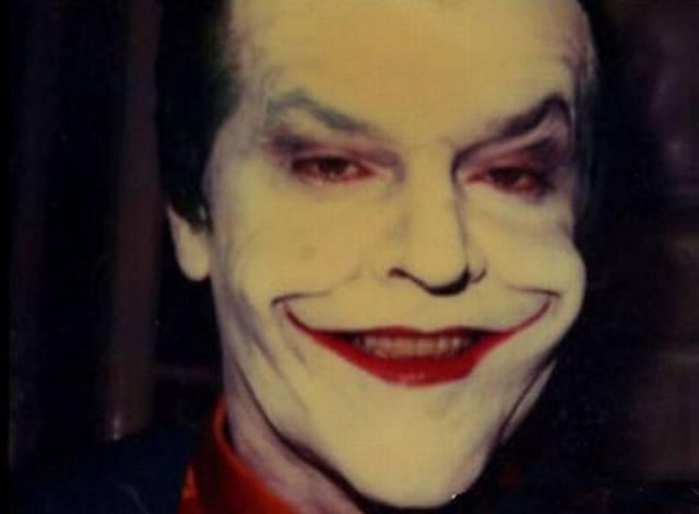 Jack Nicholson With And Without Joker Makeup