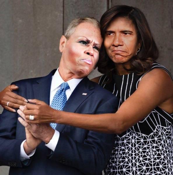 Michelle Obama Hugged George W. Bush, So A Photoshop Battle Ensued