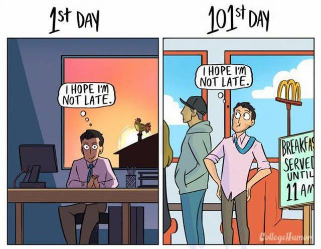 The Difference Between Your 1st Day Of Work vs The 101st Day