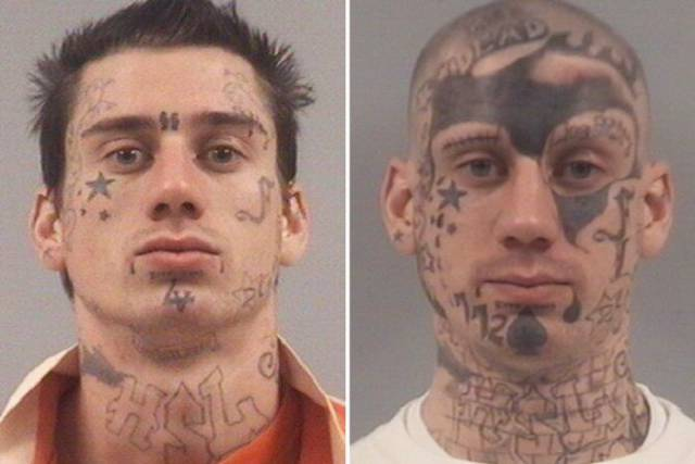 How A Face Of A Serial Offender Got Changed Progressively In 7 Years Due To Tattoos
