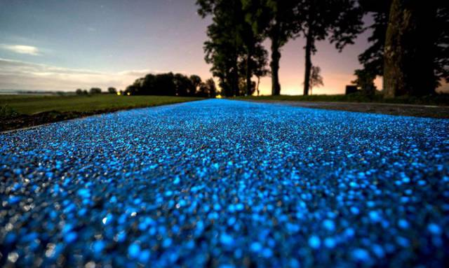 Bright Blue Bike Lane Powered By Sun Was Opened In Poland