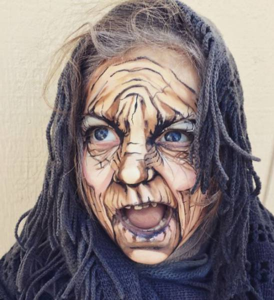 Incredible Makeup Transforms A 3-Year-Old Girl Into An Old Lady