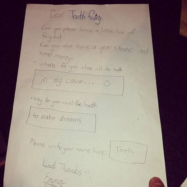 Some Of The Funniest Notes That Kids Wrote To The Tooth Fairy
