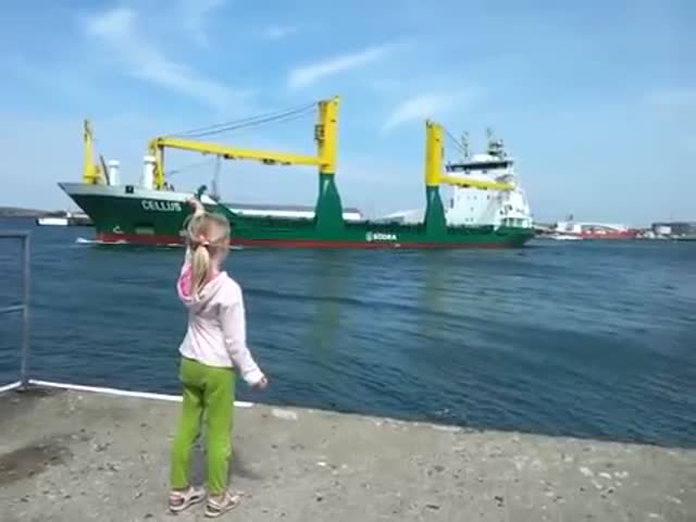 Little Girl Honks At A Ship, Wasn't Ready For This