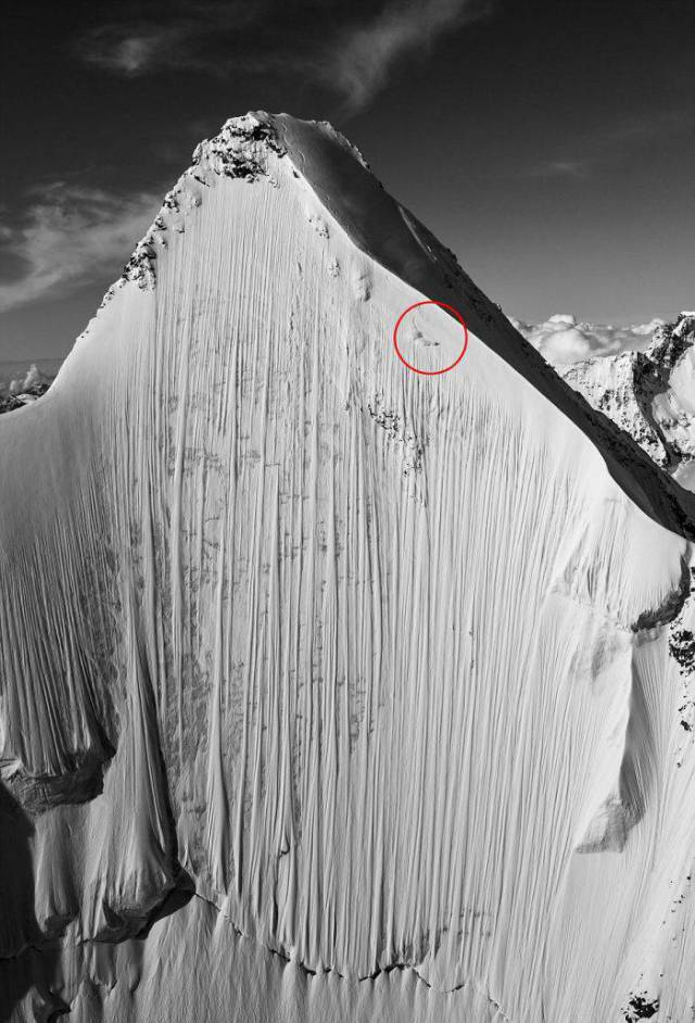 Can You Spot The Skier Going Down A Near-Vertical 4,000 Meter Peak?