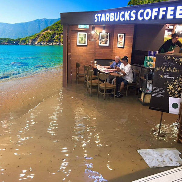 Man Sitting In A Flooded Starbucks With No F#cks Given, Triggers Epic Photoshop Battle