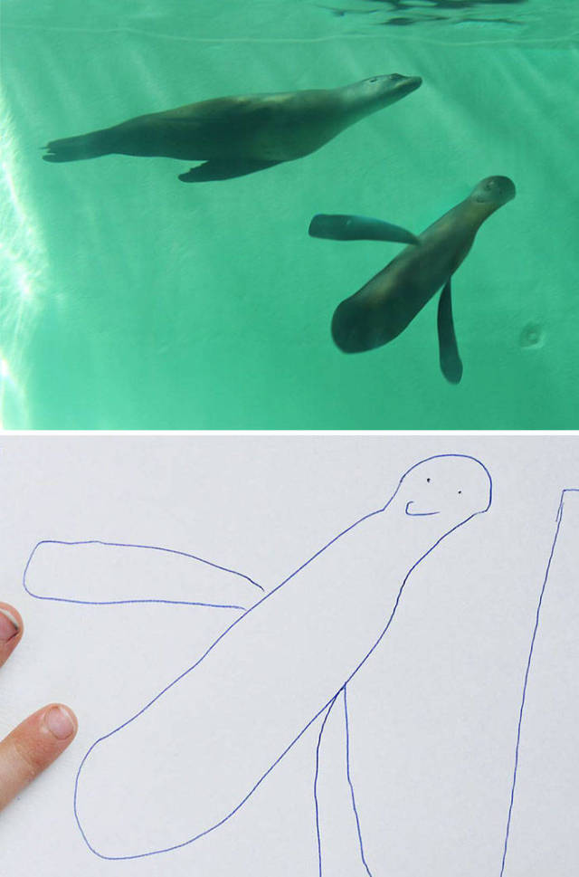 Father Recreates His 6 Y.O. Kid's Drawings In Photoshop And The Results Are Both Creepy And Amazing