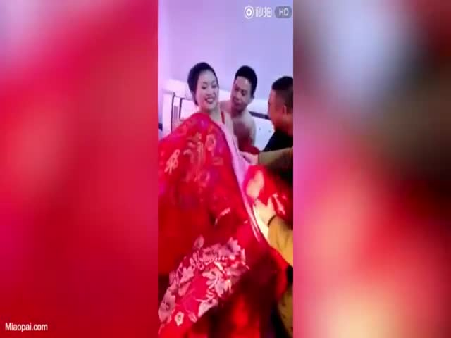 Uncontrollable Guests Try To Remove Clothes From A Bride In Front Of Her Groom