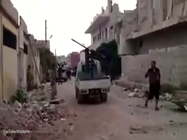Clumsy Jihadi Fell Off The Back Of An Armoured Truck