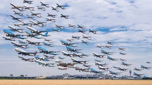 Photographer Makes Composite Images Of Planes Landing And Taking Off That Show How Our World Is Connected