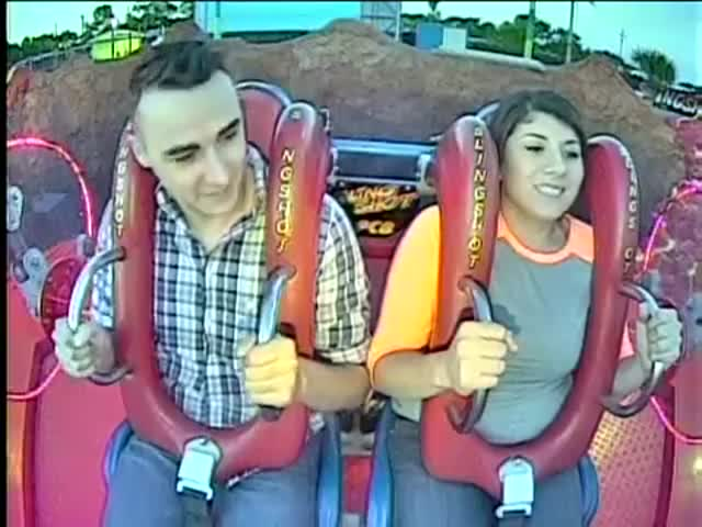 It's Hard For This Guy To Stay Conscious During A Slingshot Ride