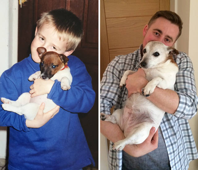 Then And Now Photos Of Dogs And Their Owners Growing Up Together
