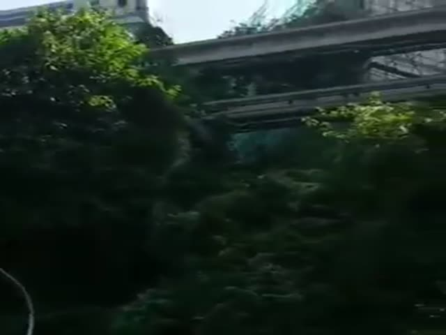 Train Goes Through A House