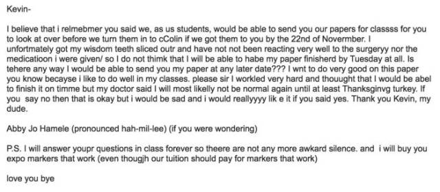 Student Sends An Epic Email To Her Teacher While She Was Supra High