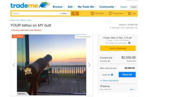 Girl Puts Her Tushie Up For Auction…