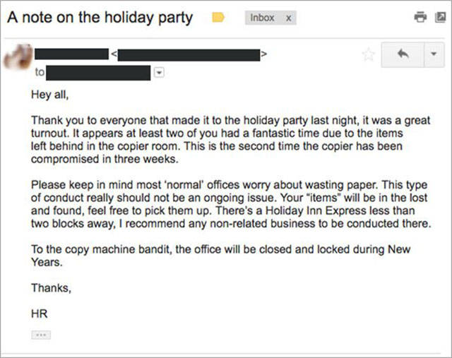HR Takes On Co-workers Who Had Sex On A Copy Machine During A Holiday Party