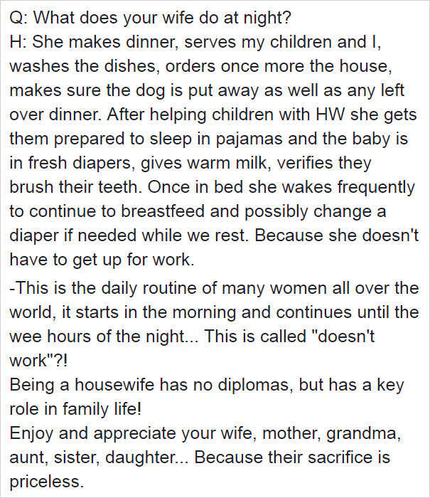Woman Stays At Home Because She Does Not Work? Are You Sure She's Doing Nothing There?